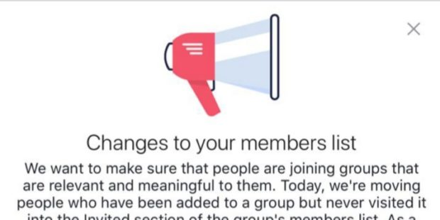 A before election Facebook's biggest shock to groups admins; removed thousands of members.