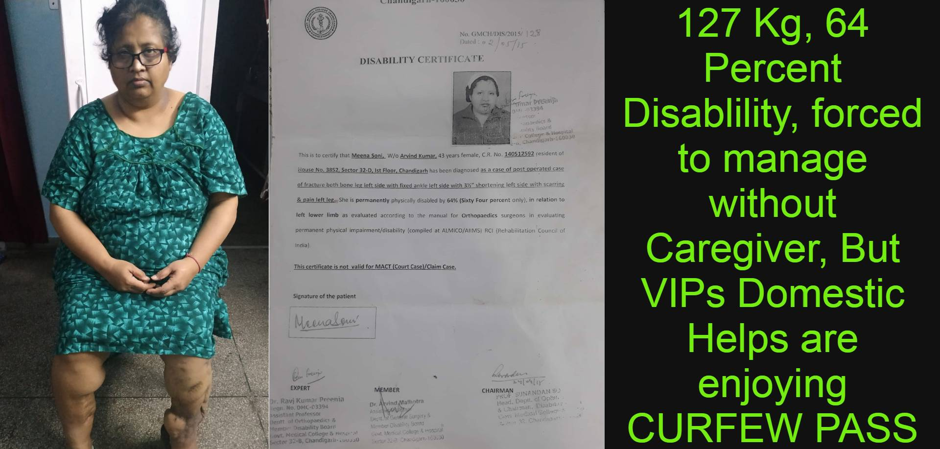127 kg, 64 percent handicapped, Sheerly ignored by Chandigarh Administration on her appeals